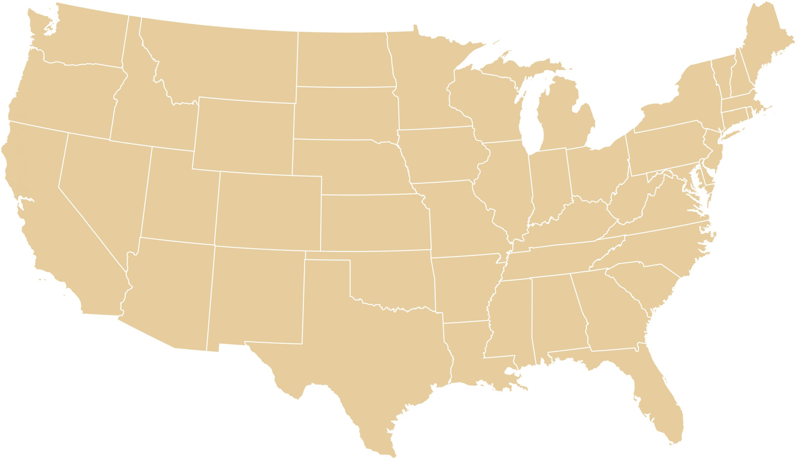 gold colored map of the USA