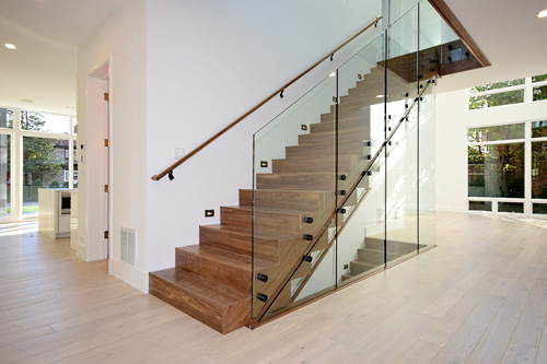 completed stairs with glass walls