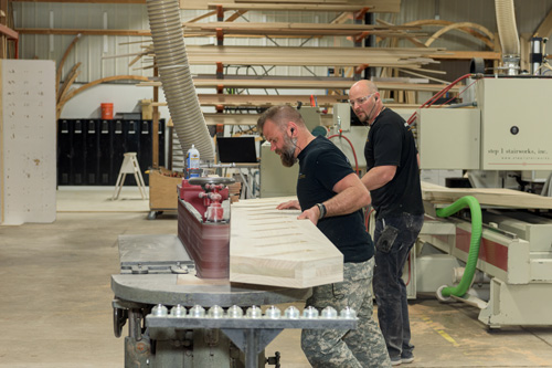 Step 1 workers manufacturing stair parts
