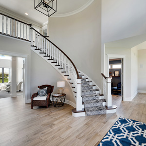light wood curved staircase