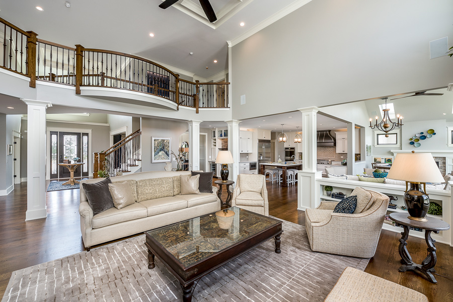 wood staircase with gray rug
