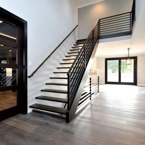 dark wood ballisters and railings