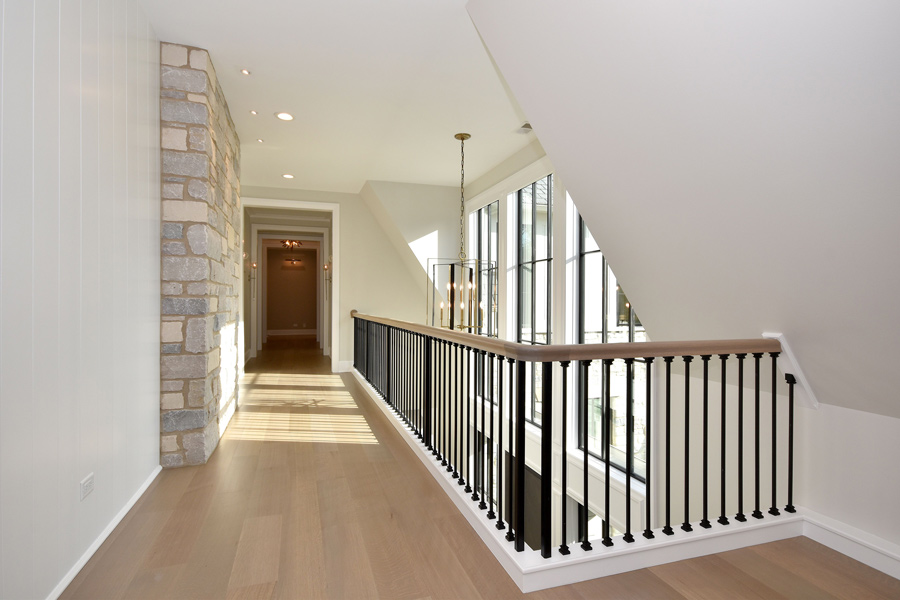 light staircase with rug